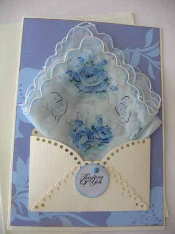 Vintage Shabby Handkerchief Blue Roses Friend Birthday Thinking Of You Hanky Greeting Card