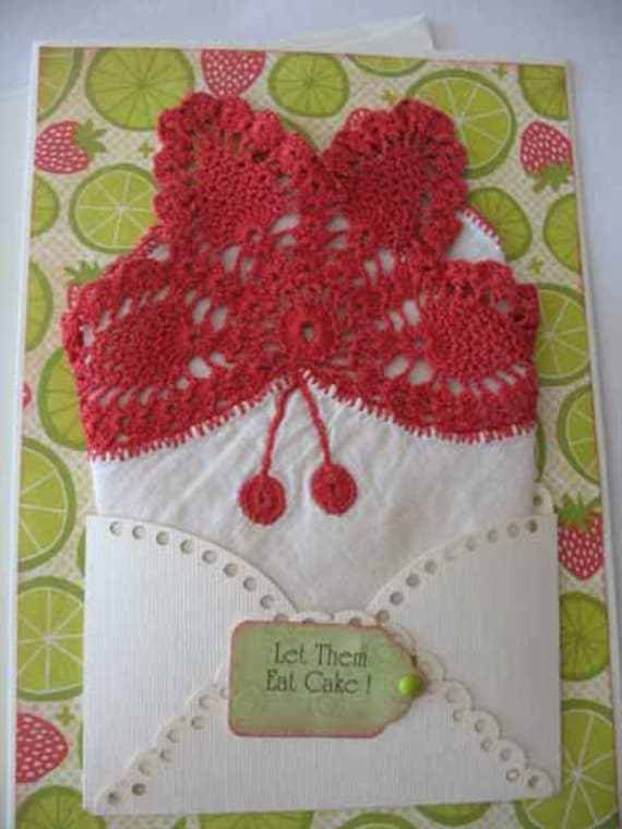 Vintage Red Butterfly Crocheted Handkerchief Friend Thinking of You Birthday Hanky Greeting Card