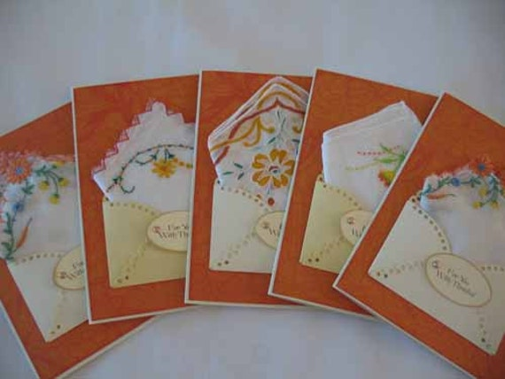 Set of 5 Unique Vintage Orange Embroidered Floral Favor Bride Bridal Shower Appreciation Thank You Hanky Handkerchief Greeting Cards