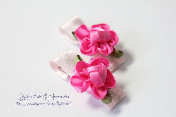 Baby girl pink satin flower hair clips