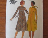 1970's Dress and Scarf Pattern By Butterick Size 14