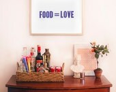 Food Equals Love 18 by 24 Letterpress Poster