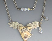 Bird and Heart Necklace - Heart with Wings and Bird - Simply SOAR Necklace - RP0170NK
