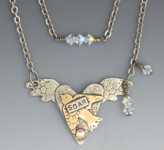 Heart With Wings Necklace, Flying Bird Necklace, Heart Necklace, Silver Heart Necklace, Heart With Crystals Necklace, Soaring Bird, RP0170NK