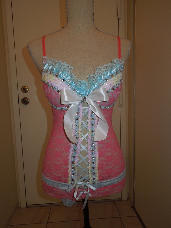 Light Blue/Pink Rave Outfit S (5)