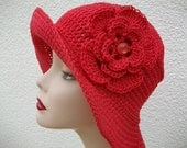 Crochet:  A beautiful crochet pure red cotton hat with a crocheted  flower FREE SHIPPING