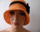 Crochet Hat: A Beautiful Crochet  Orange Cotton Hat With  Crocheted  Black Flower Vintage Button