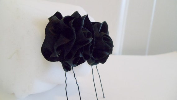 Hair Pins Black Satin Ruffle Flower