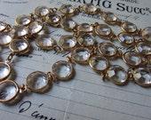 RESERVED for Vanita - crystal bezel chain large goldtone