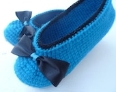 Crochet Women Slippers, turquoise blue, black Bow, Accessories, Adult Crochet Slippers, Home Shoes, Crochet Women Slippers