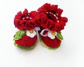 Baby Girl red  Baby Booties with strawberry decoration - baby shower gift
