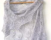 Silver knit  shawl - lace shawl -