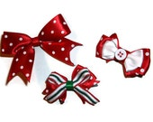 Red and White Christmas bow Set, 3 piece set, Christmas bows, Polka dot bows,