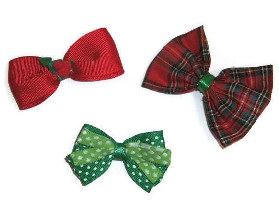 Red and Green Bows, Plaid bows, Holly bows, Polka dot bows, Holiday hairbows