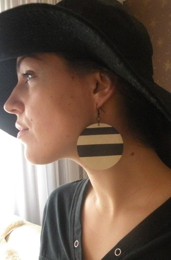 Black white leather earrings