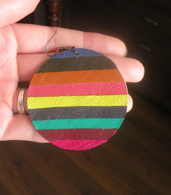 Summery colourful leather round earrings