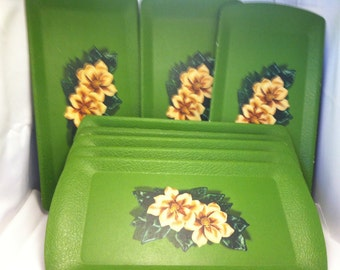 Vintage Kentley Serving Trays.  Green with Magnolia print.  Made in Grand Rapids, Mich