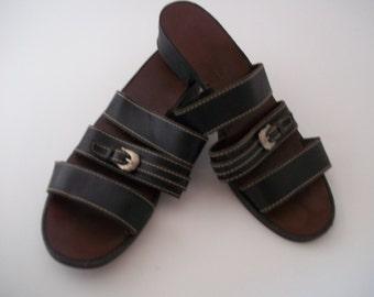 Vintage Leather Craft Black Sandal