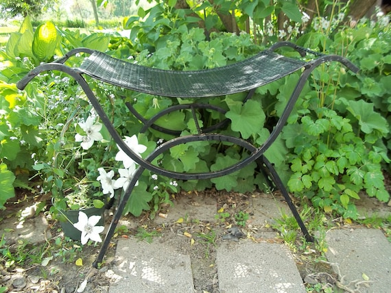 Vintage Wrought Iron Bench