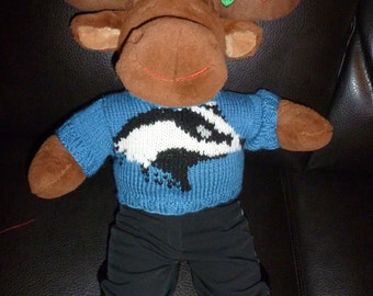 Hand Knitted Badger Head Sweater to fit Build a Bear