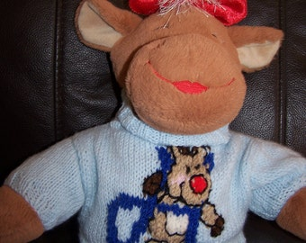 Hand Knitted Reindeer Initial Sweater to fit Build a Bear animals