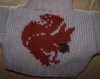 Hand Knitted Sweater with Red Squirrel to fit Build A Bear