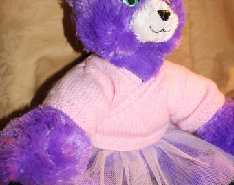 Hand Made 2 Part Ballet Outfit of Tutu and Cardigan to fit Build a Bear Animals