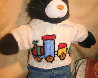 Hand Knitted Sweater with Train on front and back to fit Build a Bear