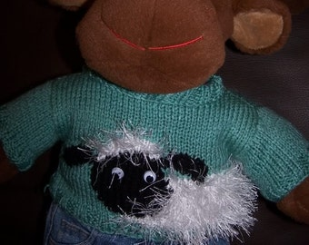Hand Knitted Fluffy Sheep Sweater fits Build a Bear
