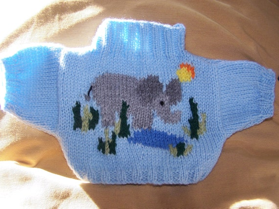 Hand Knitted sweater with elephant to fit Build a Bear animals