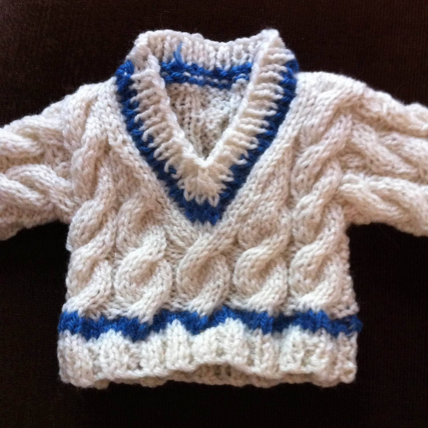 Jumper Knitting Pattern For A Teddy Bear : Hand Knitted Cabled Cricket Jumper to fit Build a Bear animals