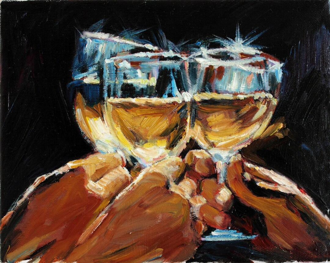 Wine art original contemporary oil painting by anastassiaart for Painting and wine