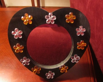 heart shaped VANITY MIRROR with floral gems