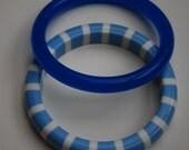 Lot of two summer poolside blue bangle bracelets