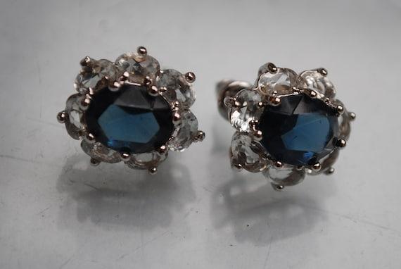 Blue glass facet rhinestone earrings