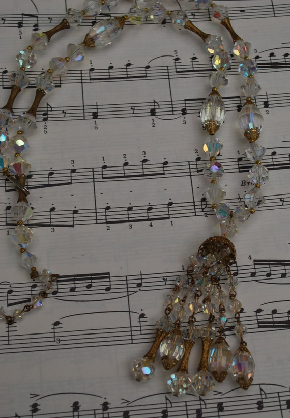 Vintage Aurora Borealis  glass bead necklace
