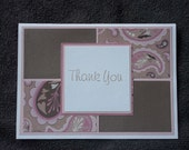 Paisley handmade thank you card