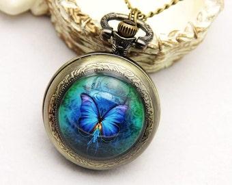 Necklace Pocket watch butterfly