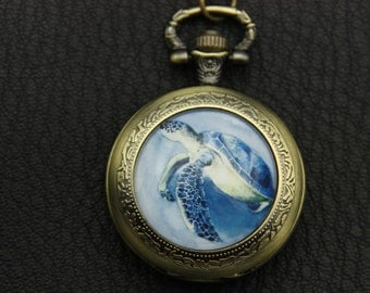 Necklace Pocket watch turtle