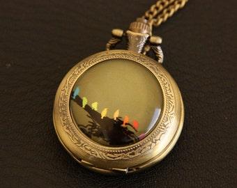 Necklace Pocket watch birds