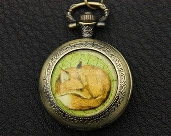 Necklace Pocket watch fox