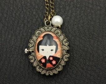 Japanese girl kokeshi Necklace Watch