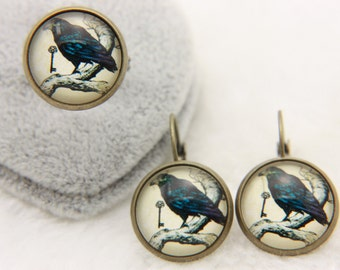 SET earrings and ring raven