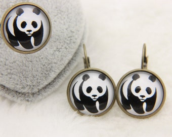 SET earrings and ring panda