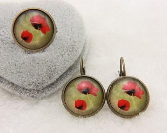 SET earrings and ring poppy