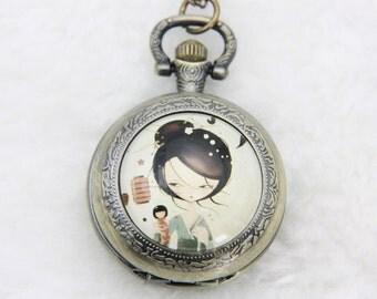 V1 Necklace Pocket watch Japanese girl kokeshi 2525M
