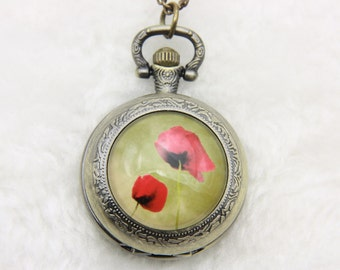 V1 Necklace Pocket watch poppy 2525M