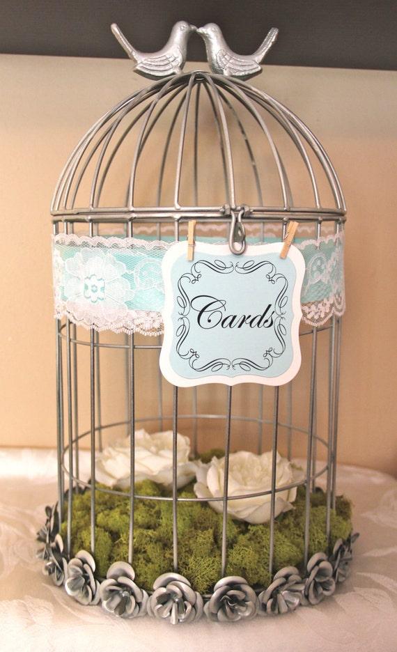 Wedding Gift Card Cage : Vintage Wedding Bird Cage / Card Holder