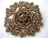 Brown soutache brooch. Elegant brooch. Round brooch. Magnificent jewerly.