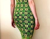Crochet dress. Green Yellow dress. Women dress in green. Summer dress. Occasional dress. Crochet lace dress